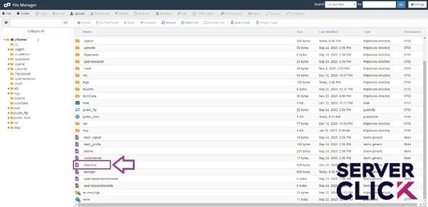 فایل Htaccess در فایل منیجر سی پنل